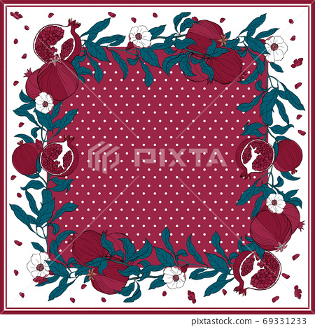 Silk scarf with pomegranate branch with fruits and flowers. 69331233