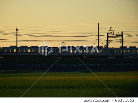 First train before dawn: First train going through the countryside 69331652