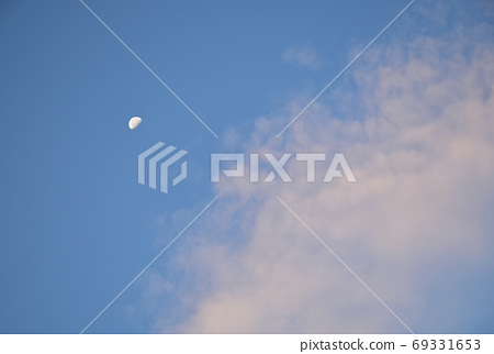 Scenery with remaining moon: Remaining moon before sunrise and sunrise clouds 69331653