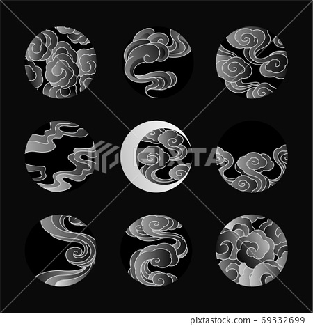 Abstract Chinese cloud vector line art illustration. 69332699
