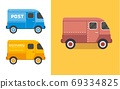 Vintage Van vector illustration. Old style delivery of food truck, compact city car. 69334825