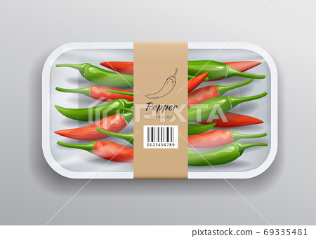 Fresh chili one packaging, in white foam tray wrapped in plastic with brown label 69335481