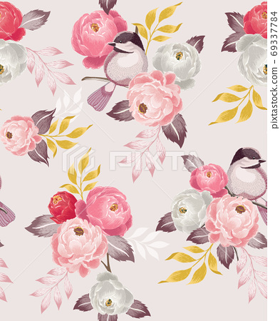 Vector illustration of seamless floral pattern in spring 69337784