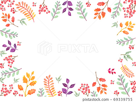Autumn leaf frame drawn in watercolor 69339755