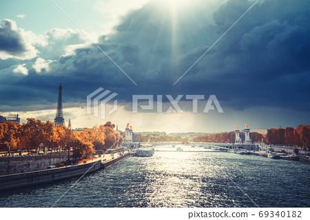 Alexander III bridge and Eiffel tower, Paris, France 69340182