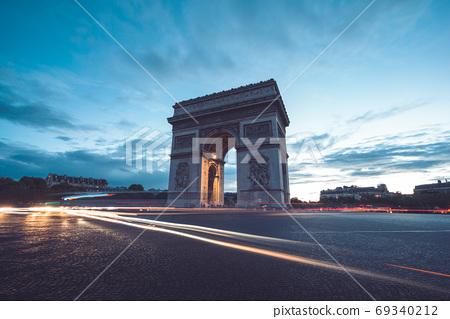 Arc de Triumph at evening, Paris, France 69340212