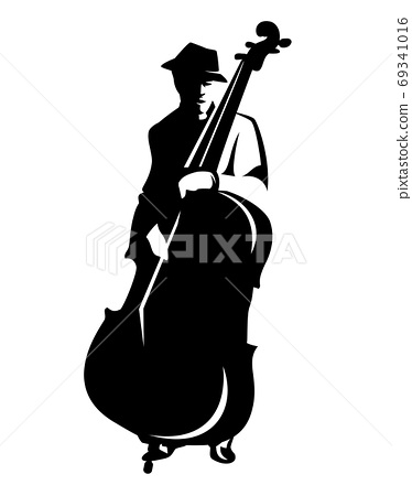 black vector outline of male musician performing jazz solo at contrabass 69341016