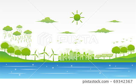 Eco friendly and environmental green city, sustainable concept 69342367