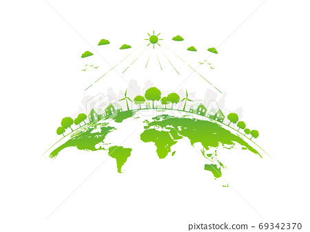 Eco friendly with green city on earth, World environment day 69342370