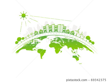 Sustainable development with Solarthermic roofs city on earth 69342375