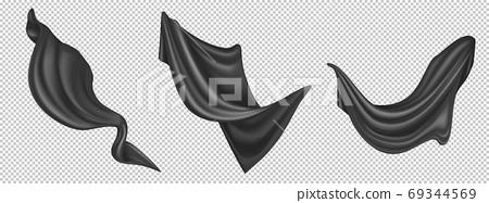 Vector realistic flying black silk fabric 69344569