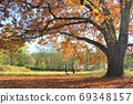 Fashionable autumn leaves date scenery overseas Beautiful autumn like a postcard 69348157