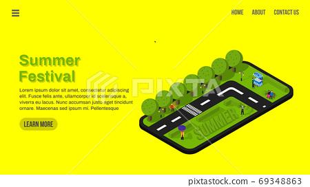 spring festival landing page with isometric hot summer landscape illustration. web interface ui ux invitation 69348863