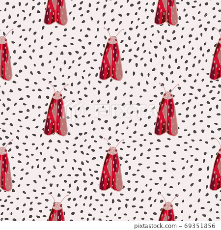 Contrast seamless pattern with red moles elements. Hand drawn insect ornament on white dotted background. 69351856