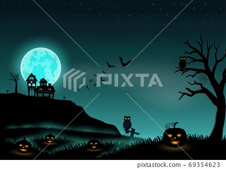 Halloween night background landscape with stars,moon,pumpkins and castle 69354623