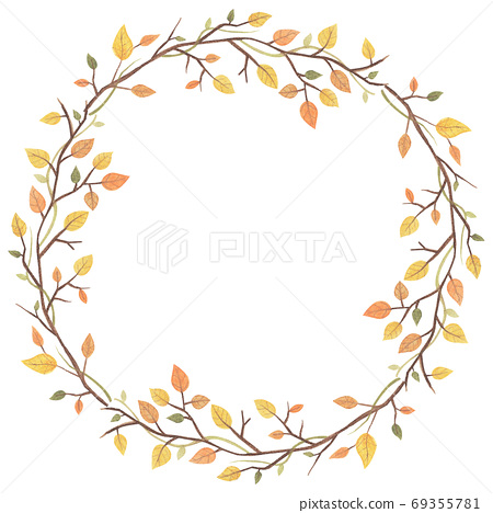 Autumn Frame With Yellow leaves and branch 69355781