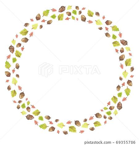 leaf and acorn branch. Autumn frame. 69355786