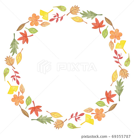 Autumn Leaves Fall Frame circle Template 69355787