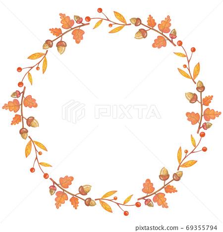 Autumn tree and acorn frame illustration 69355794