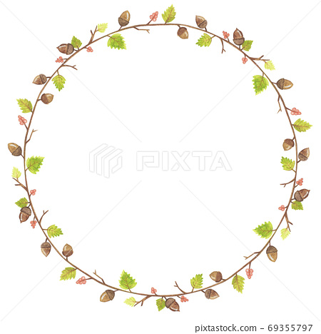 Autumn season frame with leaves, acorn, branch 69355797