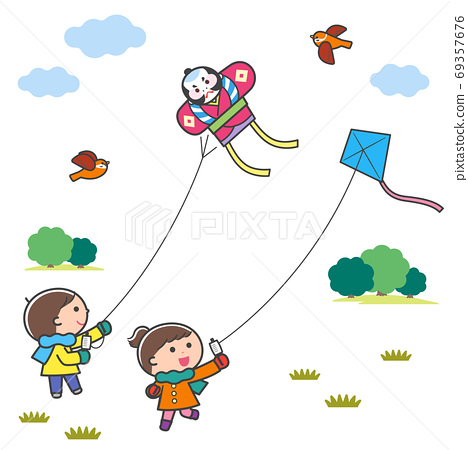 兒童放風箏/風景/帶線 69357676