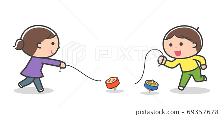 Children playing with spinning tops / with lines 69357678