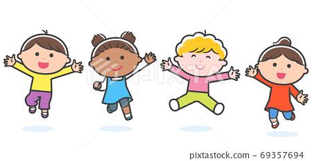 함께 점프하는 아이들 (인종 여러가지) / 선 수 69357694