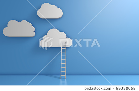 White clouds and ladder 69358068