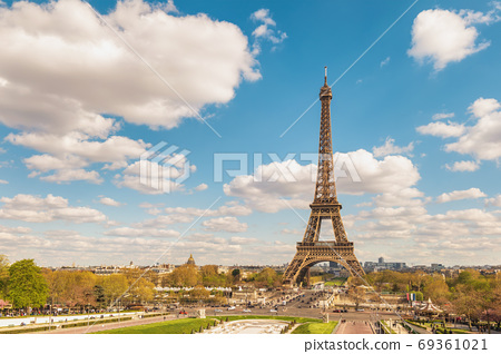 Paris France city skyline at Eiffel Tower and Trocadero Gardens 69361021