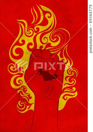 Raised fist in fire grunge 69368779