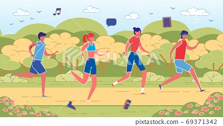 Four Young People Taking Morning Jog in Local Park 69371342
