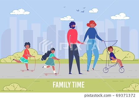 Family Resting Time and Togetherness. Cityscape. 69371372