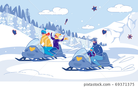 Family Snowmobile Winter Races Joy with Children. 69371375