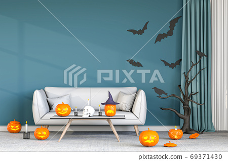 3D render Halloween party in living room with pumpkins, jack-o-lantern 69371430