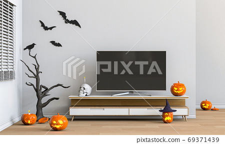 3D render Halloween party in living room with pumpkins, jack-o-lantern 69371439