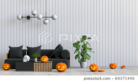 3D render Halloween party in living room with pumpkins, jack-o-lantern 69371440