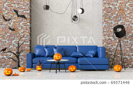 3D render Halloween party in living room with pumpkins, jack-o-lantern 69371446