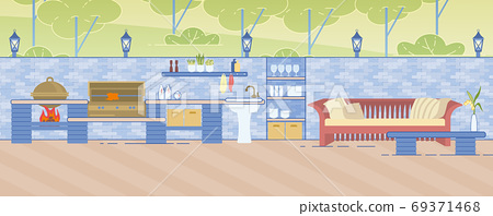 Outdoor Kitchen with Areas for Cooking and Rest 69371468