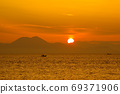 Ariake Sea sunrise and fishing boat 69371906