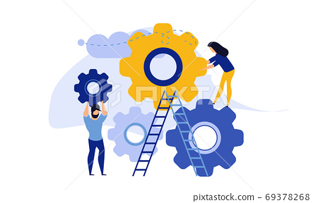Man and woman business organization with circle gear vector conc 69378268