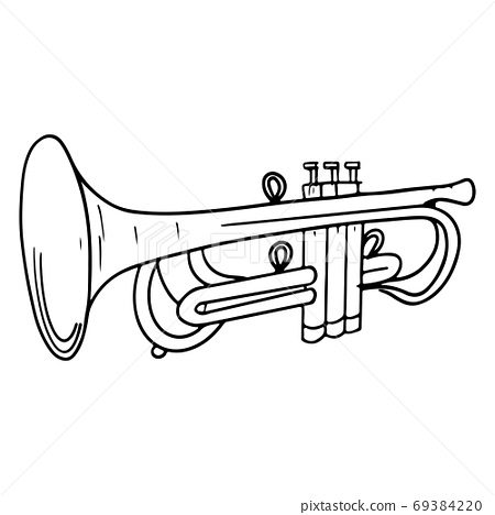 Hand Drawn trumpet doodle isolated on white background. vector illustration. 69384220
