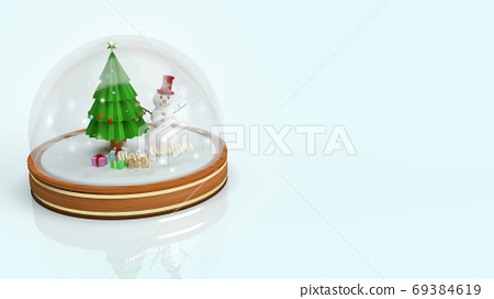 Snow crystal ball For  Christmas content  3d rendering.. 69384619