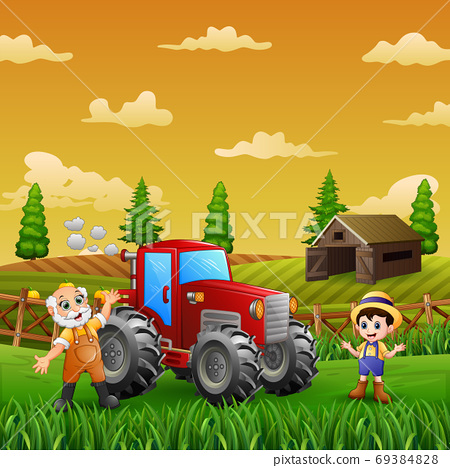 Cheerful the farmer at the farm land landscape 69384828