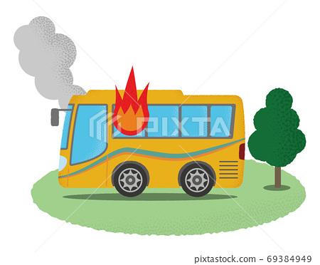 화재를당하는 노란 관광 버스의 벡터 일러스트 69384949