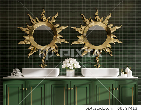 Modern classical style bathroom with green and gole 3d render 69387413