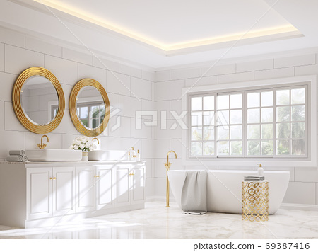 Classical style bathroom with white and gold 3d render 69387416