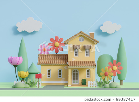 Front of small house in pastel color cartoon style image 3d render 69387417