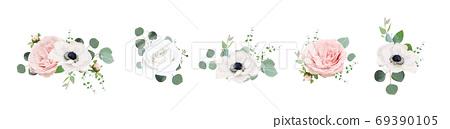 Vector floral bouquet design: Ivory white & blush peach powder peony Rose flower, anemone flowers, Eucalyptus branch, greenery leaves, tender vine, dahlia bud. Wedding elegant watercolor invite card e 69390105