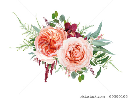 Vector floral bouquet design: blush peach Juliette rose flower, dusty coral roses flowers, burgundy red orchid, amaranthus, Eucalyptus branch, greenery leaves, tender fern vine. Wedding chic watercolo 69390106