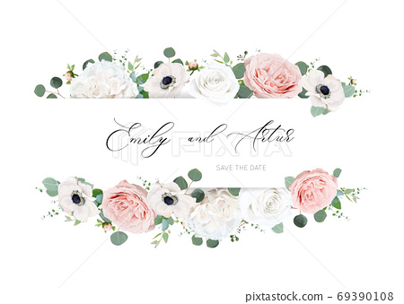 Stylish ivory white & blush peach wedding invite, invitation, save the date card design. Peony rose flower, tender anemone flowers, silver dollar, green eucalyptus leaves watercolor, style, chic frame 69390108